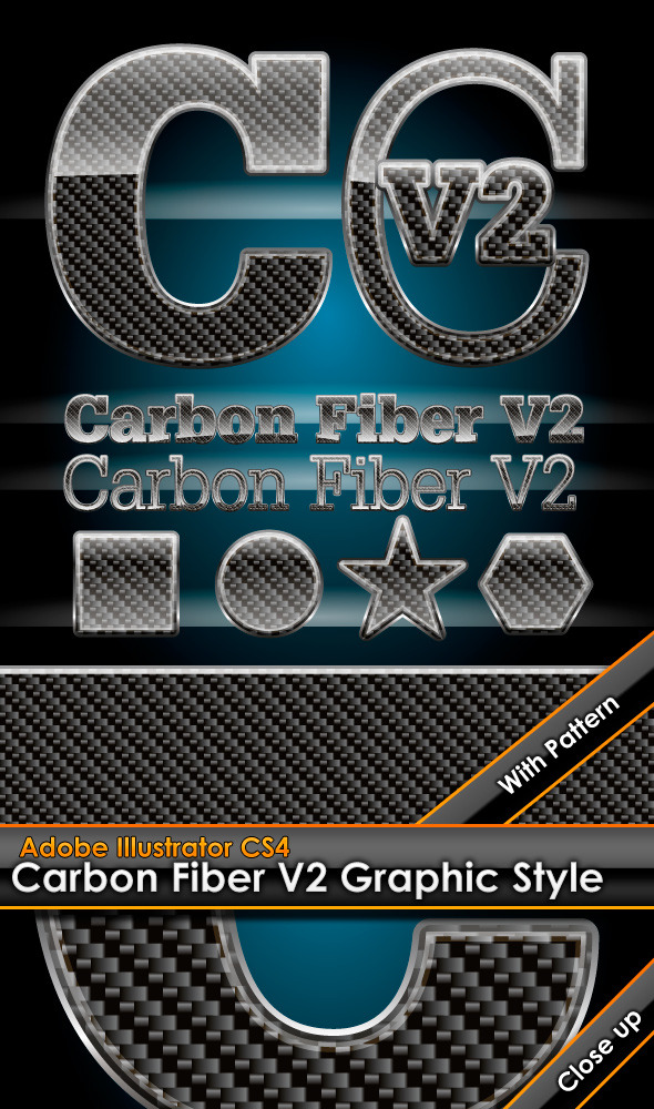 Glossy Carbon Fiber V2 Graphic Style with Pattern - Styles Illustrator