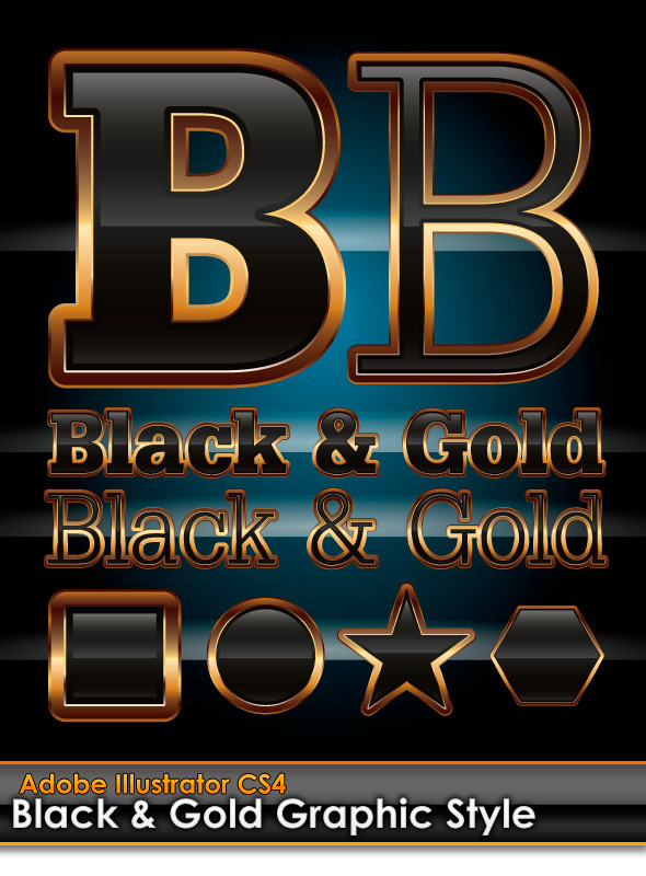Black & Gold Illustrator Graphic Style - Styles Illustrator