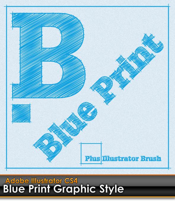 Blue Print Illustrator Graphic Style plus AI Brush - Styles Illustrator
