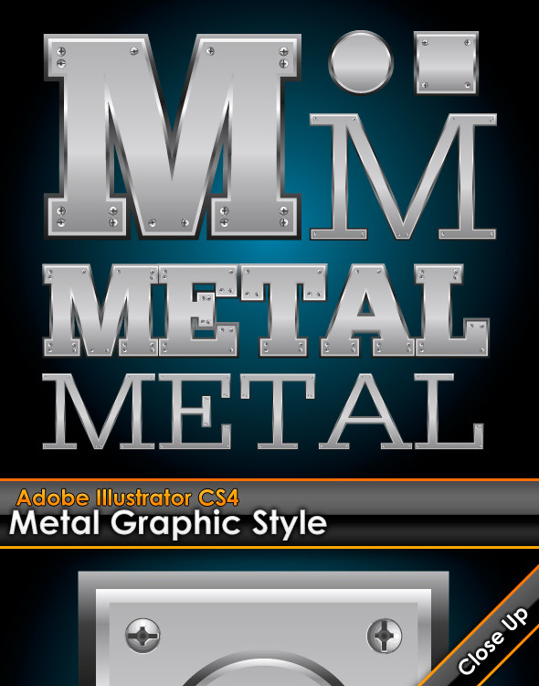 Metal Plate Illustrator Graphic Style with Bolts - Styles Illustrator