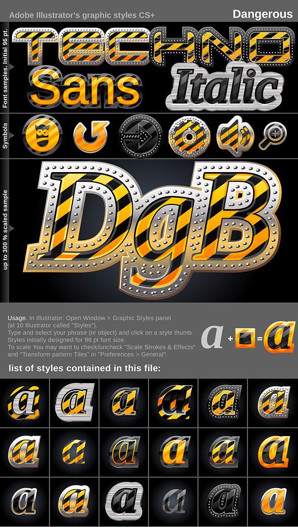 Illustrator Graphic Styles. Dangerous - Styles Illustrator