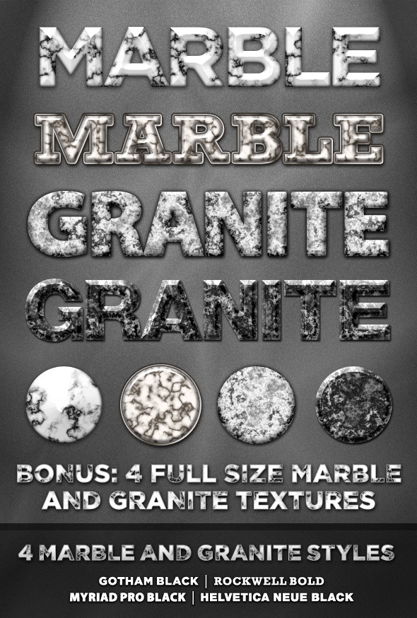 4 Marble and Granite Styles - Text Effects Styles