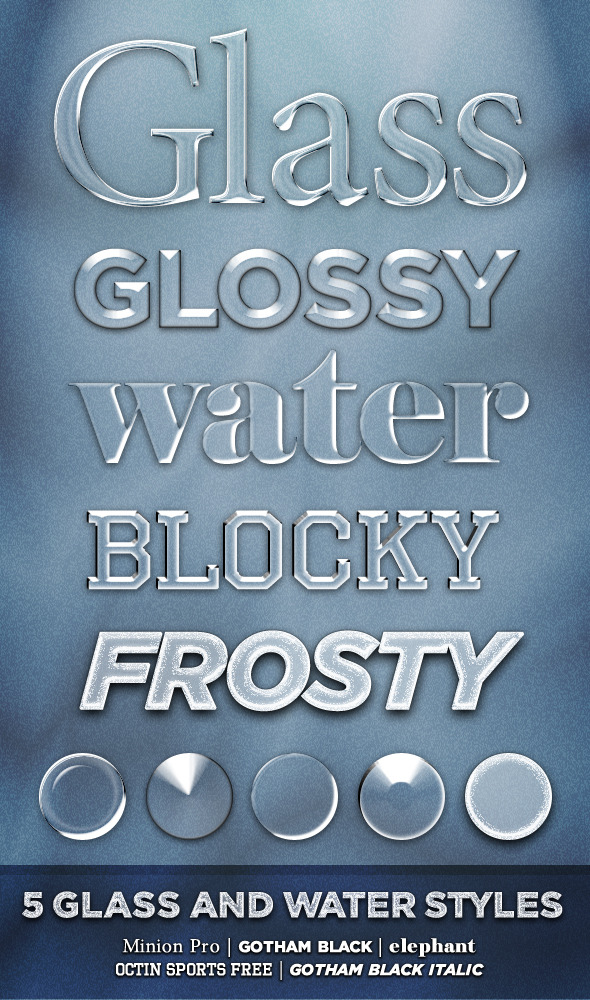 5 Glass and Water Styles - Photoshop Add-ons