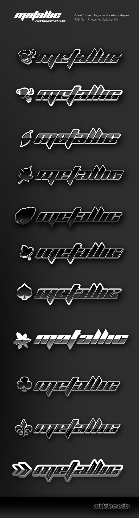 Metallic Chrome Photoshop Styles - Text Effects Styles