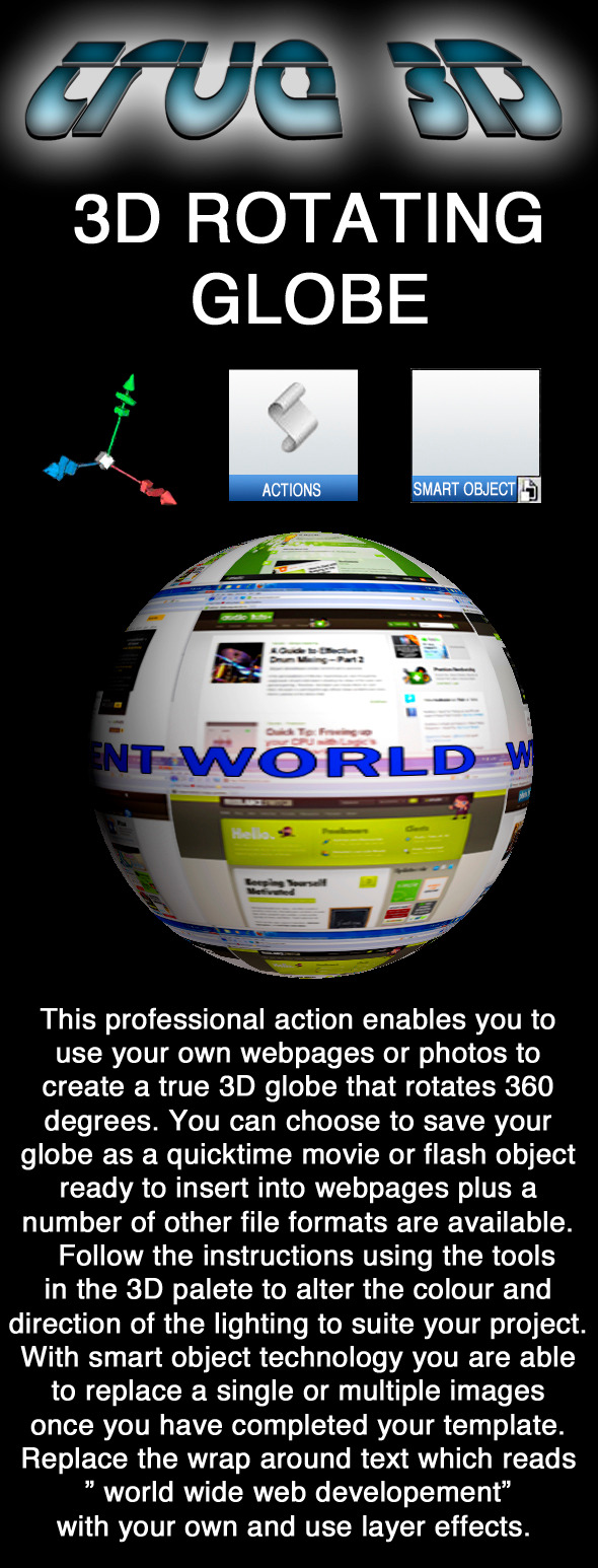 3D Rotating Globe Action - Utilities Actions