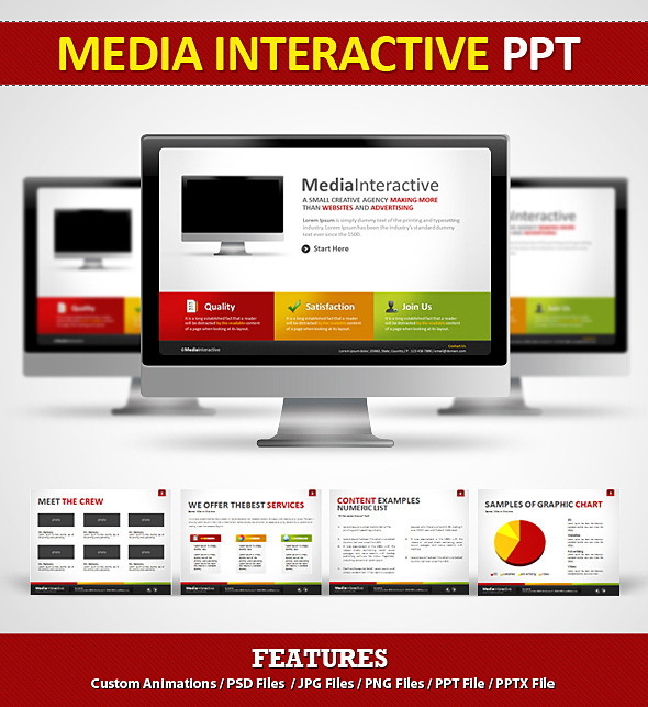 media interactive ppt - power pointeamejia | graphicriver, Interactive Presentation Template, Presentation templates