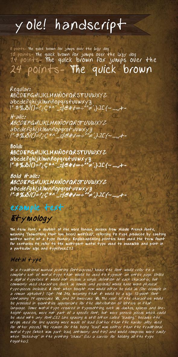 y ole! Handscript - Hand-writing Script