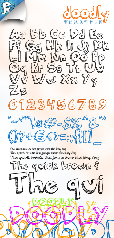 Doodly TrueType - Doodle Font - Sans-Serif Fonts