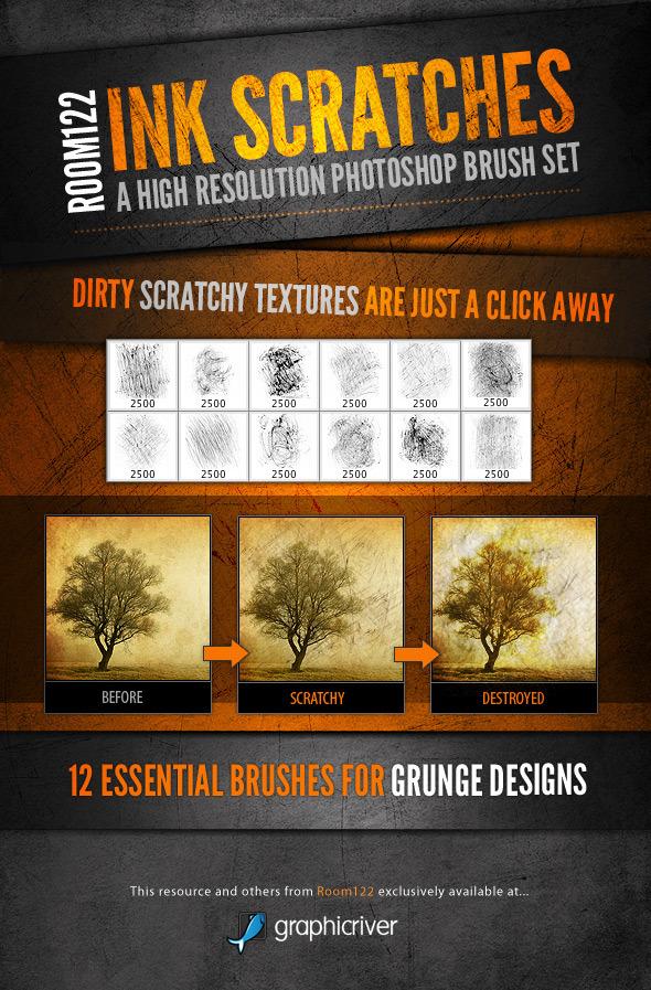 Ink Scratches Photoshop Brush Set - Brushes Photoshop