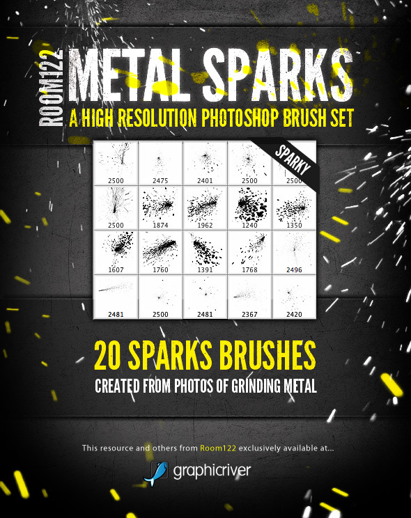 Metal Sparks - 20 Photoshop Brushes - Abstract Brushes