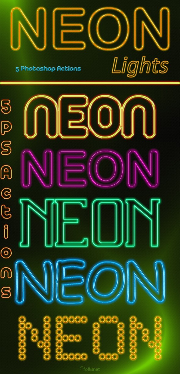 NEON Lights - Text Effects Actions