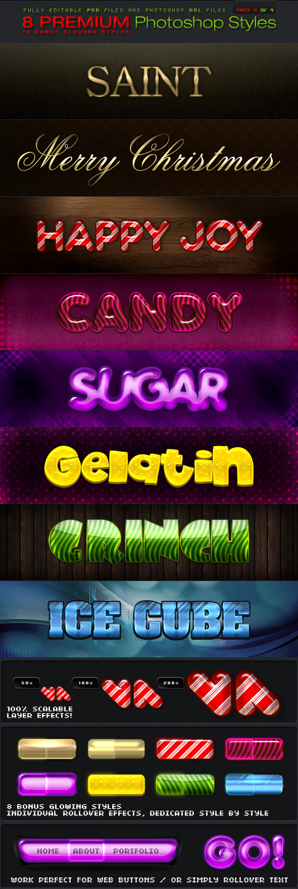 8 Photoshop Styles 4 of 4 - Text Effects Styles