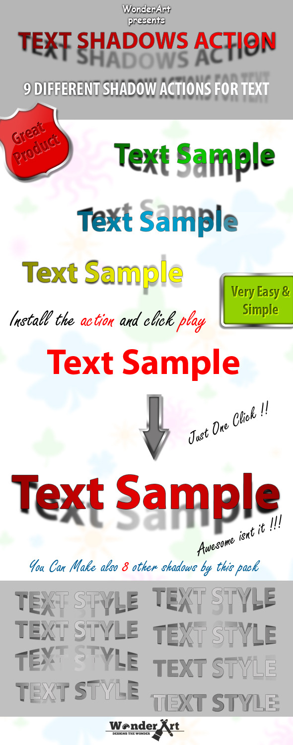 Text Shadow Action - Text Effects Actions