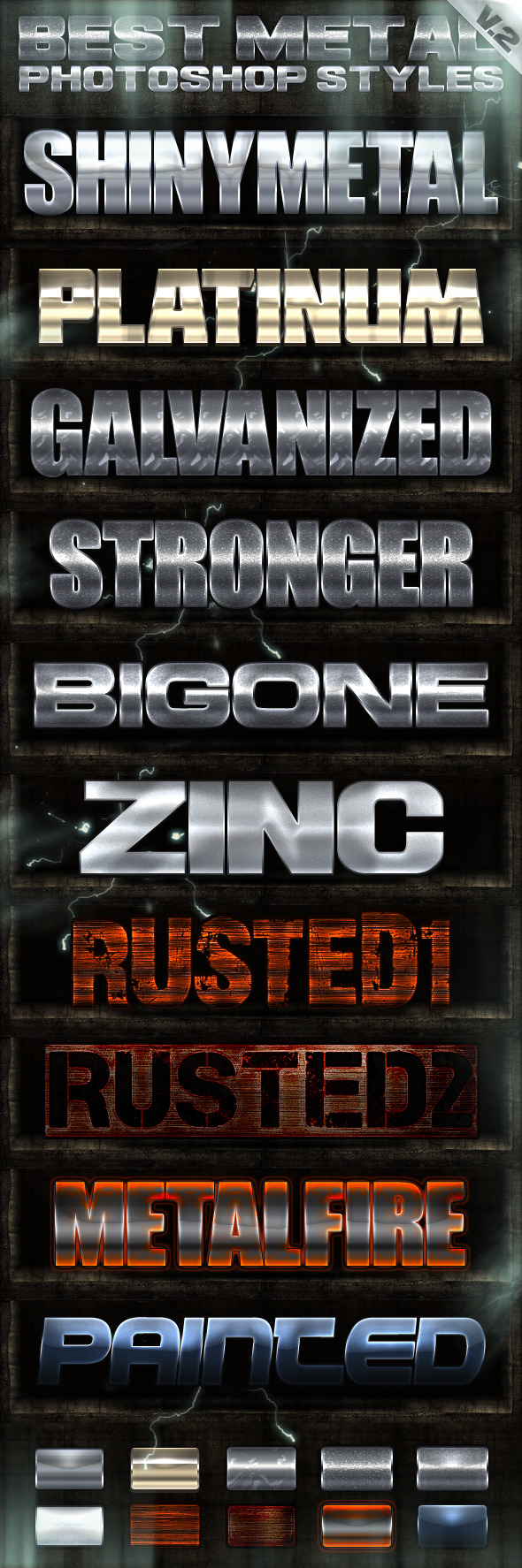 10 Metal Photoshop Styles 2of2 - Text Effects Styles