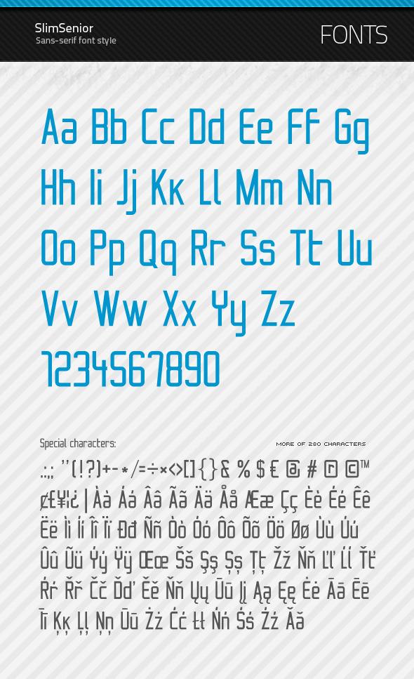 SlimSenior - True Type Font - Sans-Serif Fonts