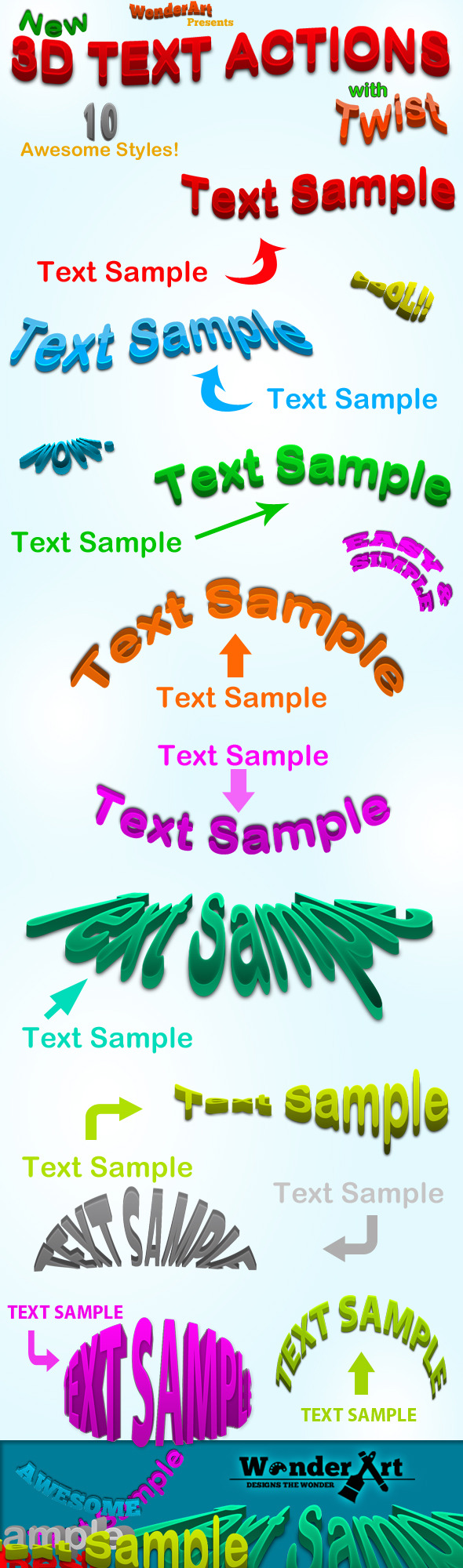 3D Warped Text Action - Text Effects Actions