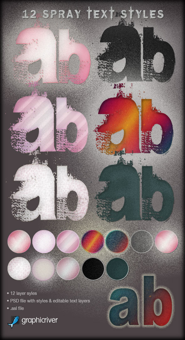 12 Spray Effect Text Layer Styles - Photoshop Add-ons