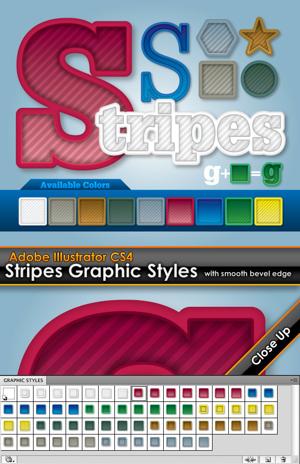 Stripes Illustrator Graphic Styles - Styles Illustrator