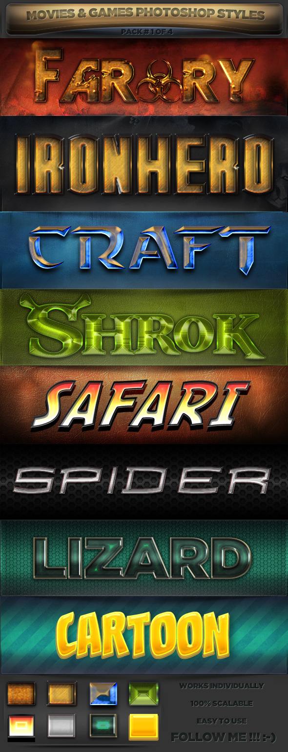 Movies & Games Styles 1 of 4 - Text Effects Styles