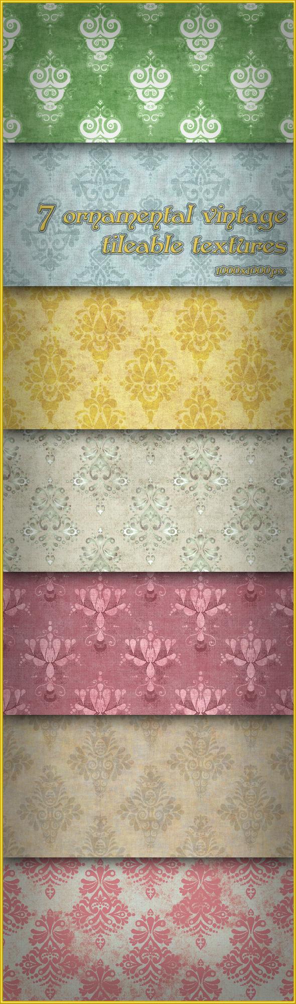 7 Ornamental Vintage Tileable Textures - Miscellaneous Textures / Fills / Patterns