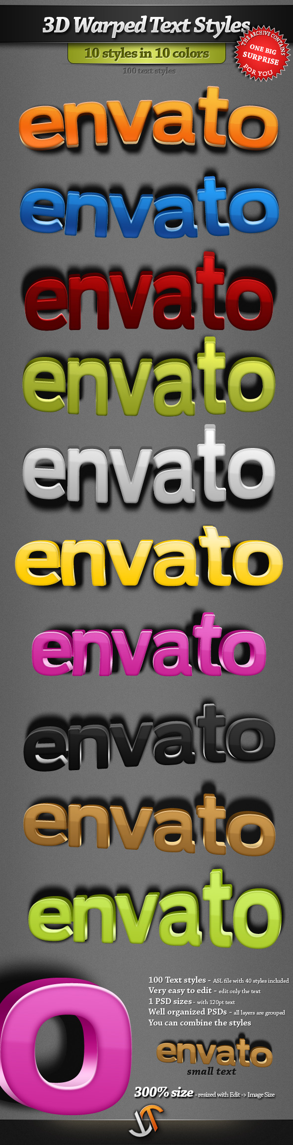 3D Warped Text Styles - Text Effects Styles