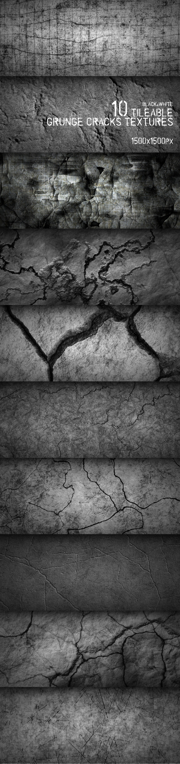10 Tileable Grunge Cracks Textures - Miscellaneous Textures / Fills / Patterns