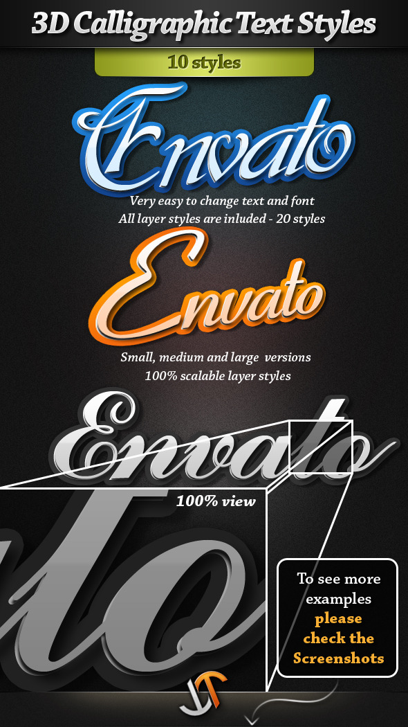 3D Calligraphic Text Styles - Text Effects Styles