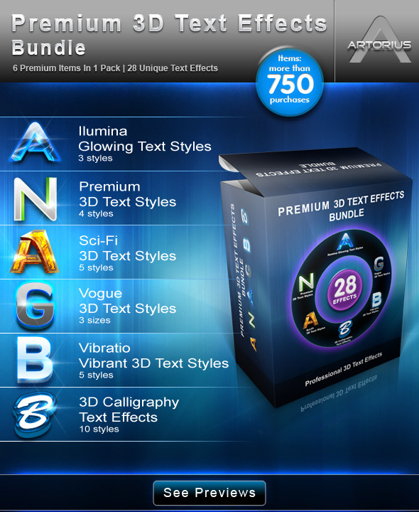 Premium 3D Text Effects Bundle - Text Effects Styles