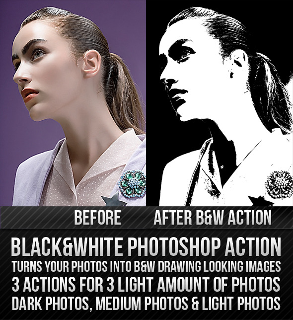 Black & White Action - Photo Effects Actions