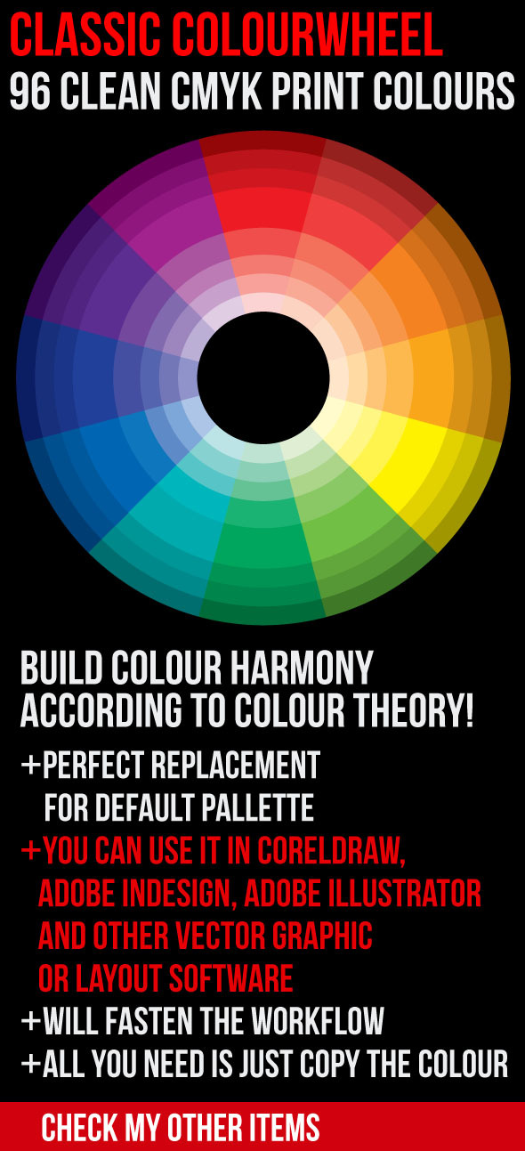Classic Color Theory Wheel 96 Clean Print Colours - Miscellaneous Brushes