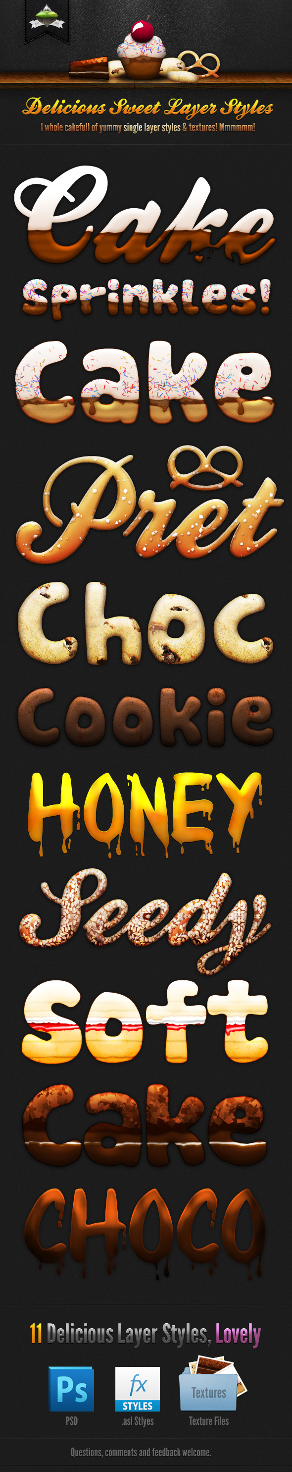 Delicious Sweet Cake Layer Styles - Text Effects Styles