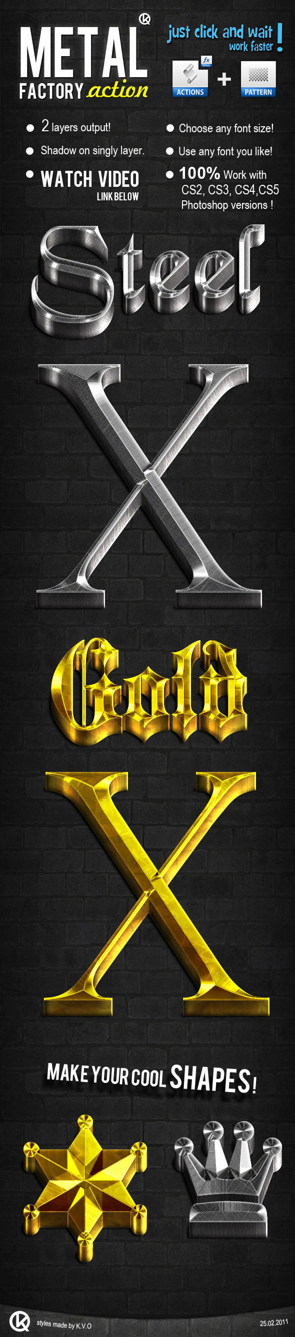 3D Gold & Steel  - Text Effects Actions