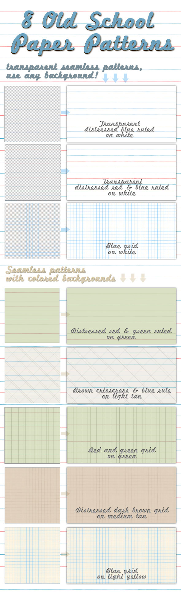 Old School Paper Patterns - Photoshop Add-ons