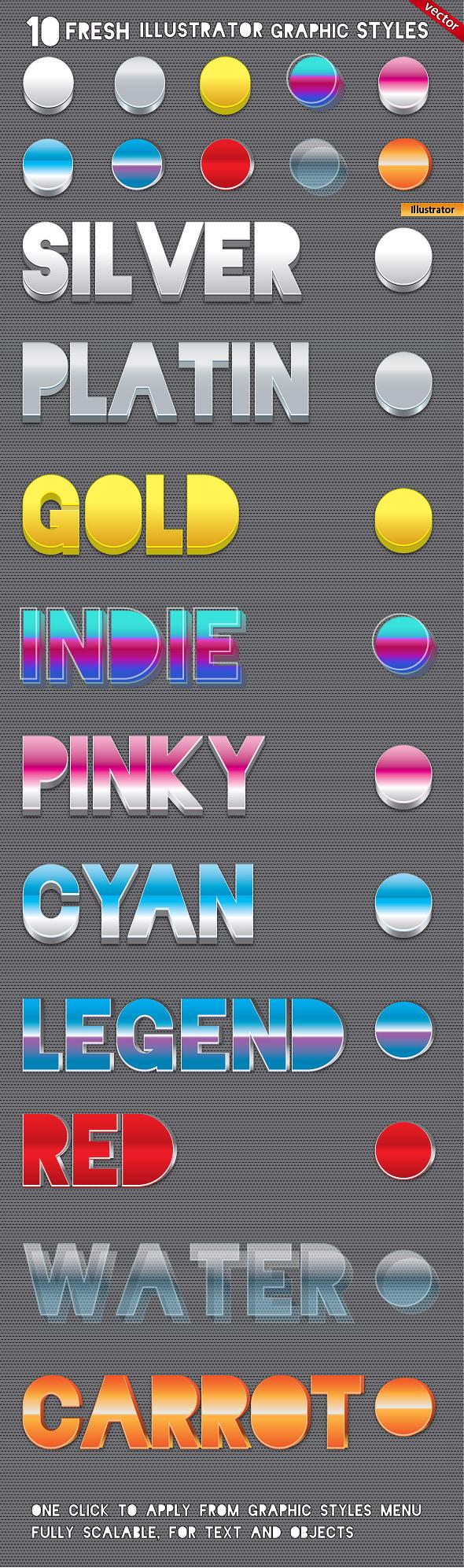 10 3D Fresh Illustrator Graphic Styles - Styles Illustrator