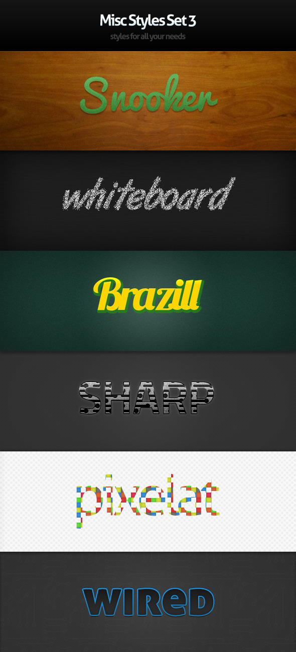 Misc Styles Set 3 - Text Effects Styles