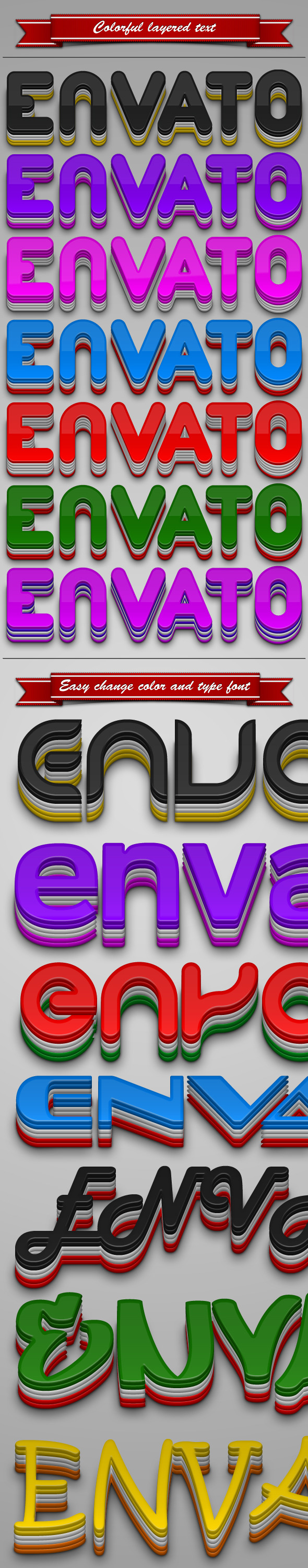 Colorful Layered Text - Text Effects Styles