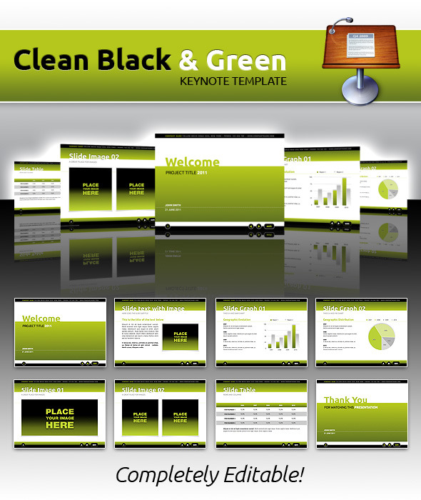 Clean Black & Green Keynote - Keynote Templates Presentation Templates