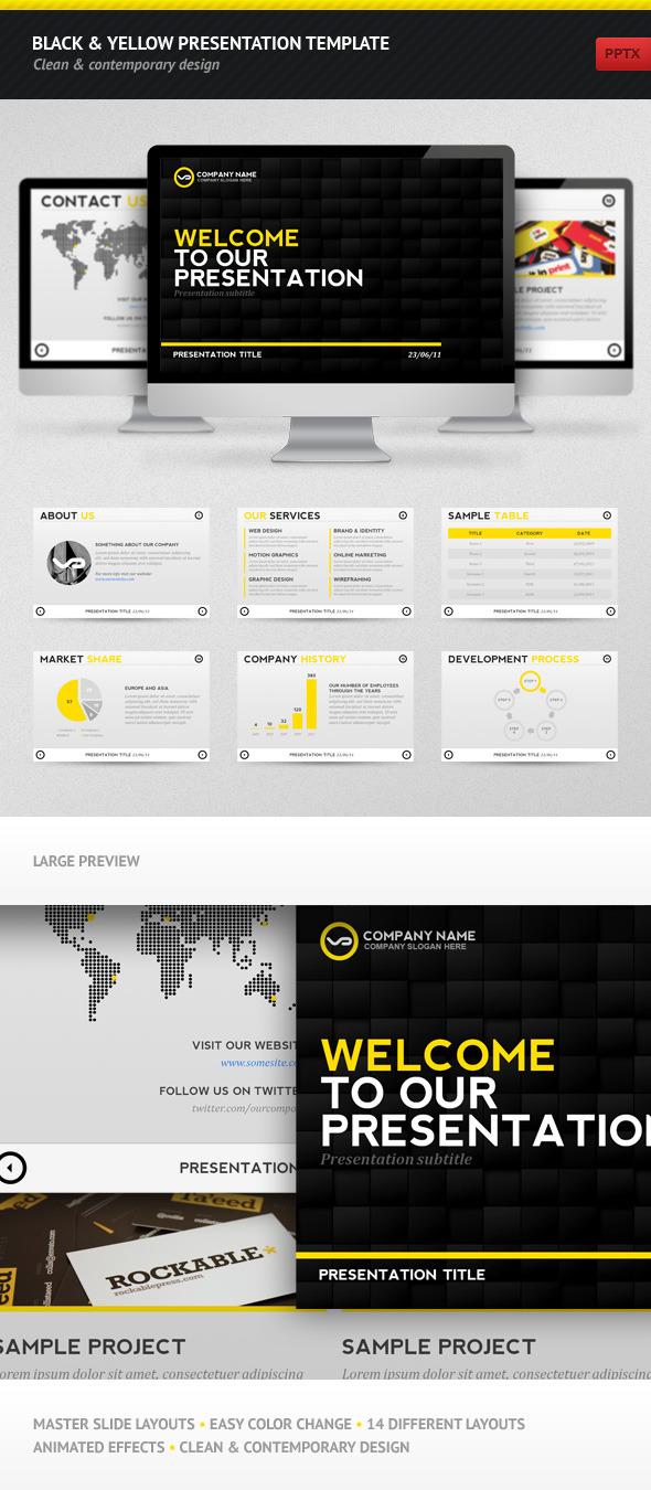 Black & Yellow Presentation Template - PowerPoint Templates Presentation Templates