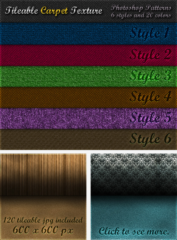 6 Tileable Carpet Textures Photoshop Patterns by survivor