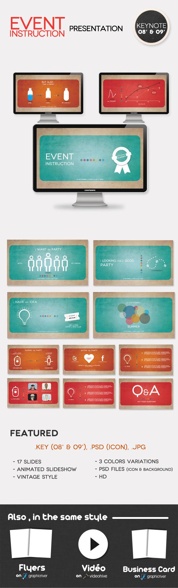 Event Instruction Presentation - Creative Keynote Templates