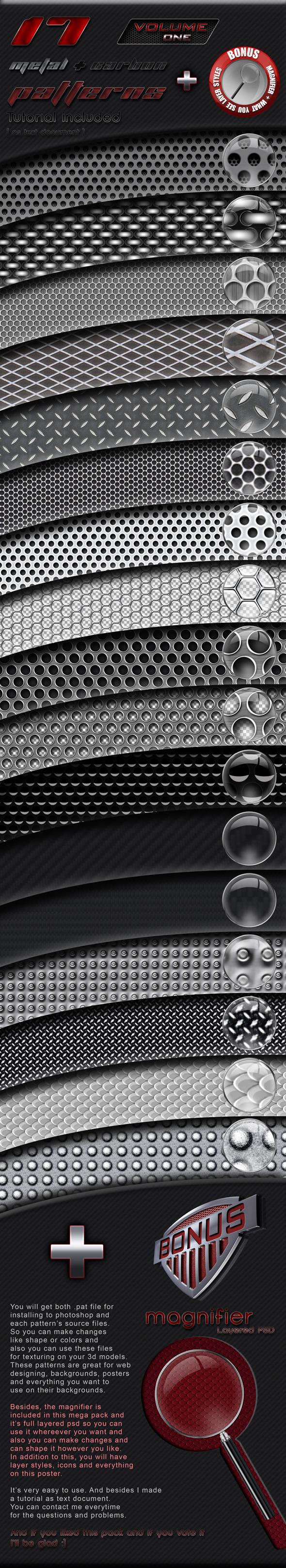 17 Patterns Metal + Carbon - Techno / Futuristic Textures / Fills / Patterns