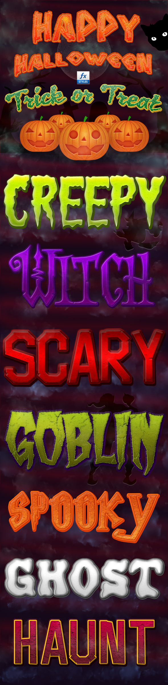 Halloween Photoshop Layer Styles Vol. 2 - Text Effects Styles