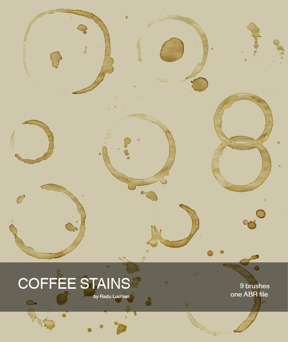 9 Coffee Stain Brushes - Flourishes Brushes
