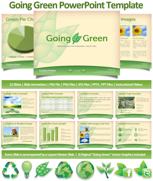 Going Green PowerPoint Template - PowerPoint Templates Presentation Templates