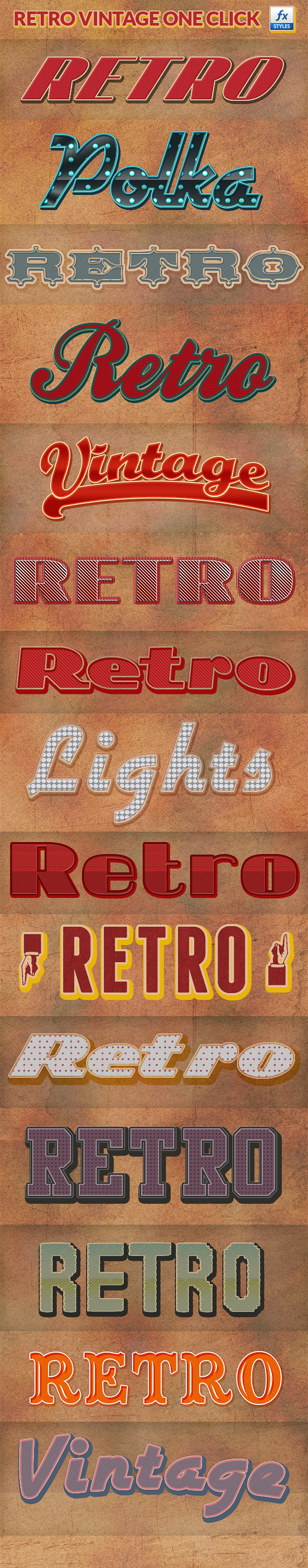 Retro Vintage Photoshop Layer Styles - Text Effects Actions