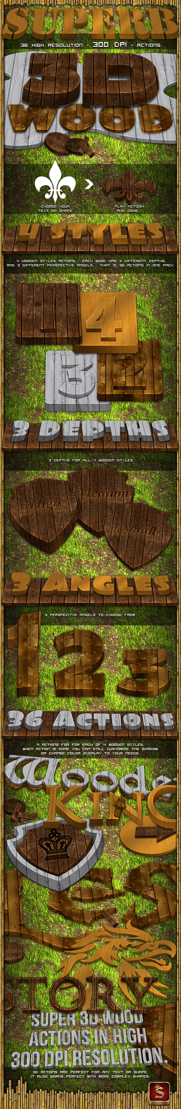 3D Wood Generator - Actions - Text Effects Actions