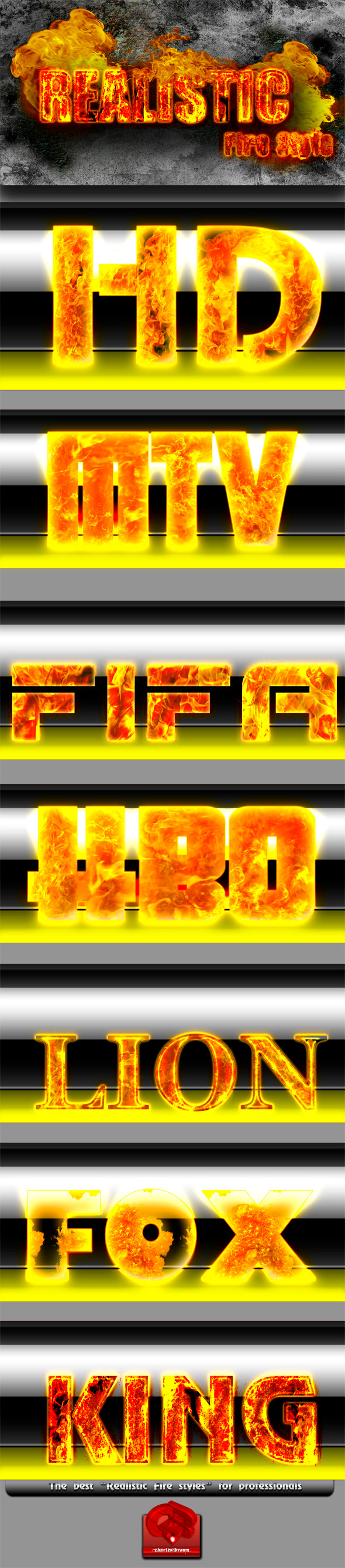 Realistic Fire Text Styles - Photoshop Add-ons