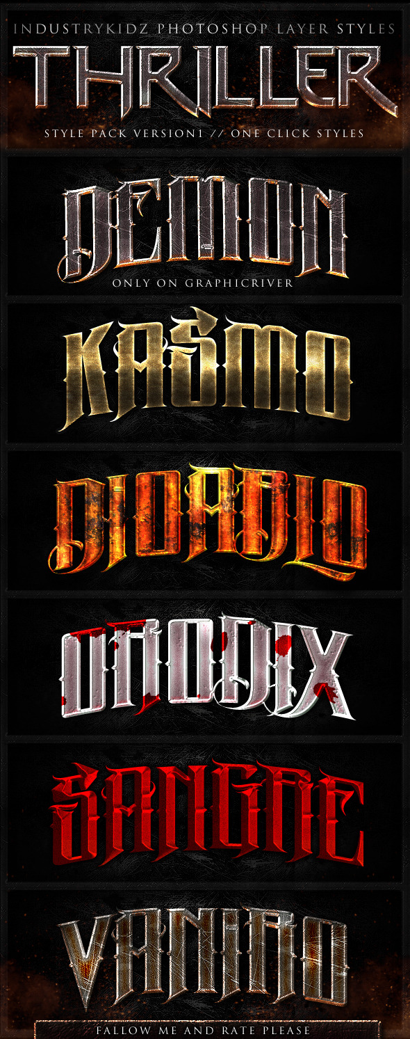 Thriller Photoshop Layer Styles - Text Effects Styles
