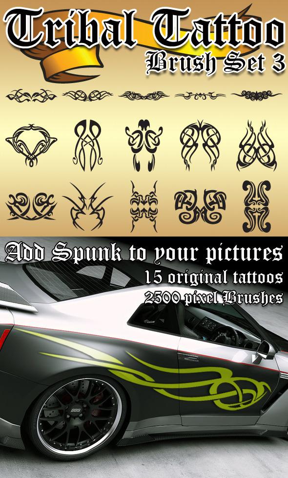Tribal Tattoo Brush Set 3 - Grunge Brushes
