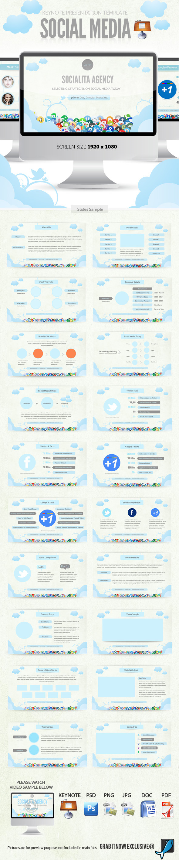 Social Media Keynote Template - Business Keynote Templates